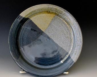 Small Dinner Plate. Blue & Black. Indigo. Cobalt. Navy Blue. Light Blue. Slate Blue. Charcoal Gray.