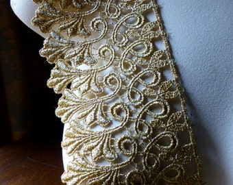 Gold Lace Venise Style Trim for Lyrical, Ballet, Crowns, Costumes, Bridal, Jewelry Design GL 10