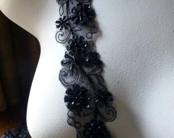 "18""  BLACK Beaded Trim for Garments, Costume Design, Crafts"