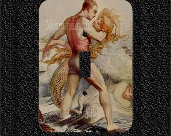 Submarine Engangement Mermaid and Man Light Switch Plate Covers available in 3 options single toggle/rocker/outlet