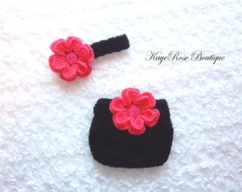 Newborn Baby Girl Crochet Flower Headband and Diaper Cover Set Coral Pink and Black