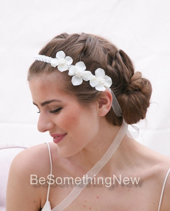 Wedding Flower Headband Pearl Tie Headpiece for Weddings with Ivory Flowers and Pearl Trim, Wedding Hair Bridal Headpiece Pearl Headband