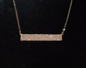 CZ Bar Necklace in Gold or Silver