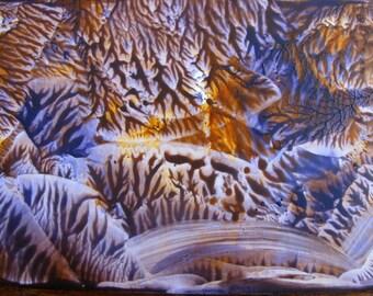 5X7 Frosty Night Sky Encaustic (Wax) Abstract Original Painting. Northern Lights. Purple, Orange. Aurora Borealis. SFA (Small Format Art)