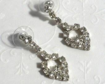 Clear Rhinestone Dangle Drop Pierced Post Earrings - Vintage Prong Set Rhinestones