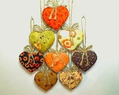 Fall/Autumn Heart Ornaments, Thanksgiving, Home Decor, Holiday Celebrations, Fall Decoration, Party Favor, Rustic, Set/8,Halloween, #1