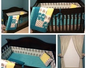 Crib Set Bedding Turquoise Gray and Yellow Elephant and Giraffe Made to Order