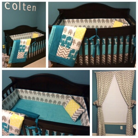 crib set bedding turquoise gray and yellow elephant and. Black Bedroom Furniture Sets. Home Design Ideas