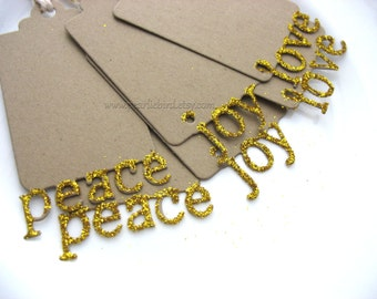 Gold Glitter Dipped Peace Love Joy Mini Holiday Christmas Gift Tags, Gold Glitter Gift Tags, Pretty Packaging, Gift Topper