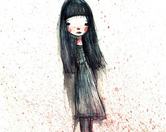 "Fine Art Print - ""Sadie"" - 8.5x11 or 8x10  Premium Giclee Print of Original Artwork - Little Girl - Artwork"