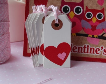 Red with Pink Heart Gift Tags - 2 3/4 x 1 3/8 - Set of 10 Tags -Valentine-Altered Shipping Tag-Wedding-Shower-Favor-Love-Kids- Ready to Ship