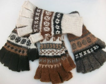 Alpaca finger-less gloves. Texting gloves. Only 1 color left in   brown.