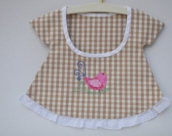 French Gingham Embroidered Peg Bag. Wardrobe Tidy or Bathroom Accessory with Handmade Wooden Hanger