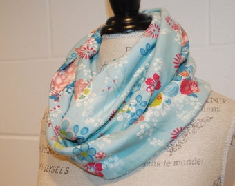 Blue Floral Cotton Jersey Infinity Scarf - European Import Fabric -Modern Fashion Accessory - Ladies Teens Tweens