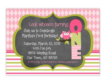 First Birthday Invite, Owl Invitation with Chalkboard printable, Custom design for YOU, Owl Birthday Invite, Owl Baby Shower Invitation