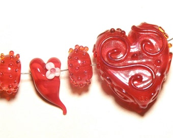 15% OFF -- DESTASH -- Four Coordinating Red Heart and Bumpy Rondelle Lampwork Beads - Lot T