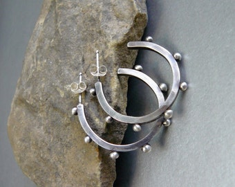 Timeless Sterling Silver, Oxidized Hoop Earrings - Edgy and Chic  - Handmade - OOAK