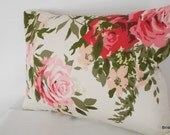 romantic English cottage cabbage rose  Vintage pillow  cover ...cottage chic  farmhouse,shabby chic ,victorian, romantic home