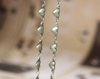 3.3 ft (1m) Antique Bronze Brass Heart Chain L04750