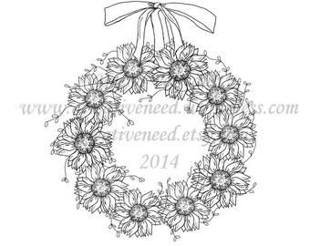 INSTANT Download Digital Stamp Image Sunflower WREATH, Digital Image