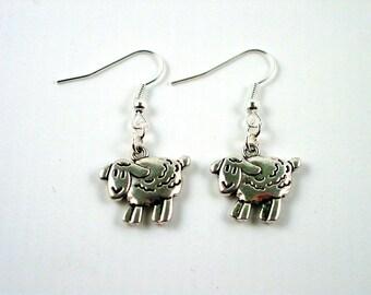 Sheep Earrings - Knitters Earrings - Animal Earrings