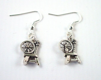 Spinning Wheel Earrings - Spinning Earrings - Yarn Earrings