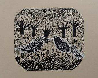 The Rich Tapestry of Life limited edition lino cut by Liz Toole