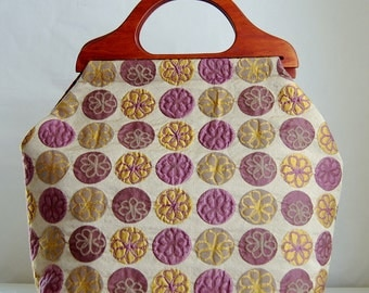 Flower Rounds Large Craft Project Tote/ Knitting Tote Bag - READY TO SHIP