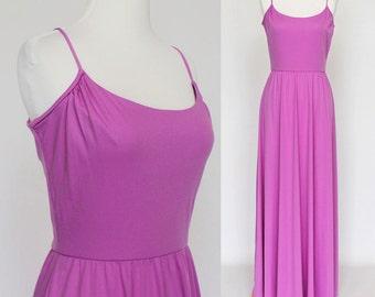70's Spaghetti Strap Maxi Dress / Prom Gown / Purple / Orchid / XSmall