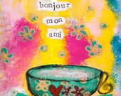 """Bonjour mon ami 5""""x7"""" Blank Greeting Card with Envelope, Friendship Card, French Friendship card, Wholesale Greeting Cards"""