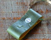 Monogrammed Distressed Green and Ochre Leather Keychain - Short & Wide Style