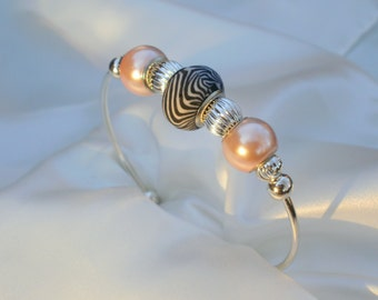 Pink Pearl and Zebra Bead Bead Bracelet Cuff, contemporary design, black, white, pink