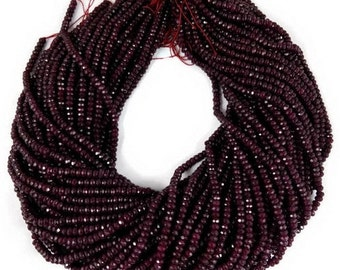 "Excellent Dark Ruby Red Chalcedony Sparkly Micro Faceted Rondelle Bead spacers,size 4.35mm, 7"" strand"
