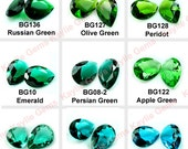 Glass Jewel 18x25mm Tear Drop Pointed Back Unfoiled  - Green, Emerald, Peridot, Apple Green, Chrysolite, Indicolite, Blue Zircon -Pick Color