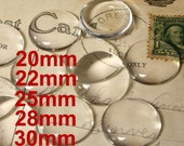20mm, 22mm, 25mm 28mm 30mm Round Clear Glass Cabochon Super Smooth for Photo Collage Glue on Projects  - Pick your size
