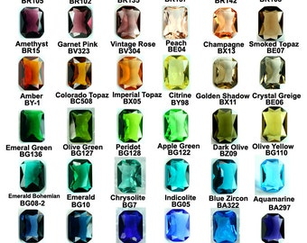 Glass Jewel 10x14mm Octagon Faceted Diamond Cut, Pointed Back, Unfoiled -Pick Your Colors - 2pcs