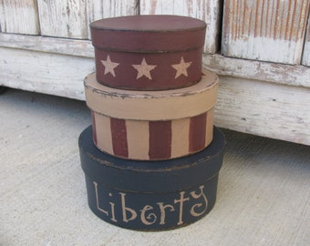 Primitive Hand Painted Liberty Stars and Stripes Small Oval Set of 3 Stacking Boxes GCC5657