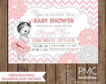 Custom Printed Vintage Floral Ballerina Baby Shower Invitations - 1.00 each with envelope