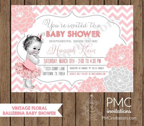 Custom Printed Vintage Floral Ballerina Baby Shower Invitations
