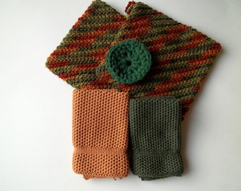Knit Dish Cloths, Crochet Pot Holders and Scrubbie in Gift Set in Fall Colors