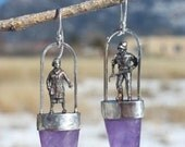 Sterling Silver Cast Tiny People and Amethyst Earrings