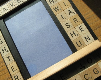 Brave, Wish, Brighter, Peace, Joy & Hope Scrabble Embellished Picture Frame (holds a 4 x 6 photograph)