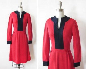 60s mod dress, vintage red wool dress, 1960s red dress, extra small xs