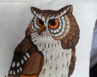 Vintage Owl on Tree Branch Embroidery Pillow 1960s 1970s