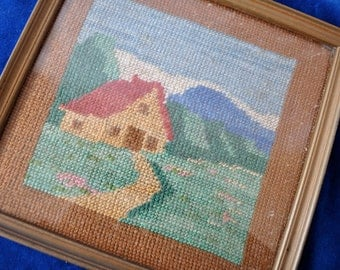 Country Cottage Needlepoint Picture/Vintage c 1970s/French Countryside Lanscape