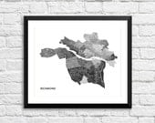 Richmond VA Art Map Print.  Color Options and Size Options Available.  Map of Richmond.