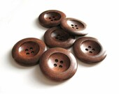 Dark Chocolate Brown Wooden Sewing Buttons 35mm - set of 6 natural wood button  (BB137)