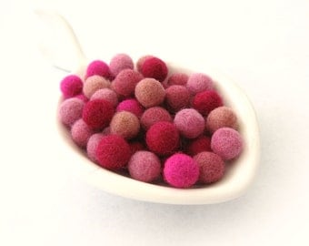 Felt Balls Pinky Pink Color Mix - 50 Pure Wool Beads 10mm felt balls  (W200D)