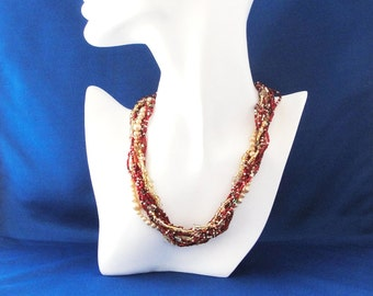 Beaded Multi Strand Choker, Elegant Colorful Red and Gold Twisted Strand Necklace, Unique Handmade Gift Ideas for Her by m2designs