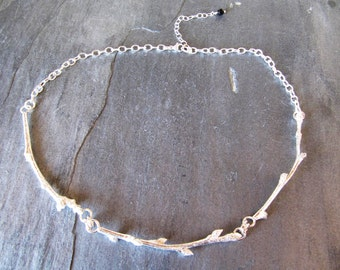 Think Spring!  Budding Twig Necklace - Twigs in Sterling Silver